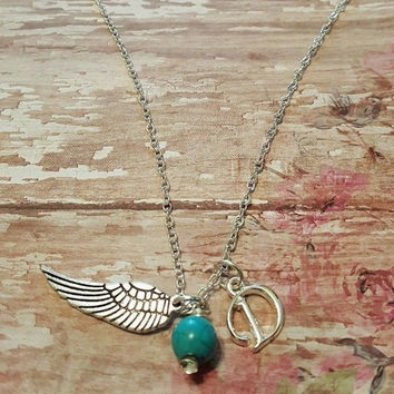ANGEL WING BIRTHSTONE Necklace, Initial Necklace, Charm Necklace, Memorial, Girl