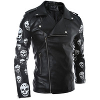 Mens PU Leather Jacket Male Coat Skulls Flower Sleeve Printed Style Side Zipper Designs Hip Hop Slim Fit Motorcycle Jackets Man