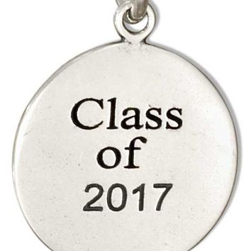 """Sterling Silver Round """"class Of 2017"""" Charm"""