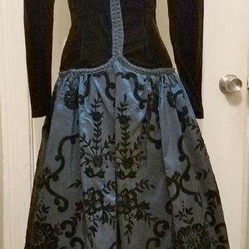 Vintage 1980's Ball Gown Dress Size 4 Velvet Satin Black and Blue Steampunk Romantic Goth Victorian Steampunk
