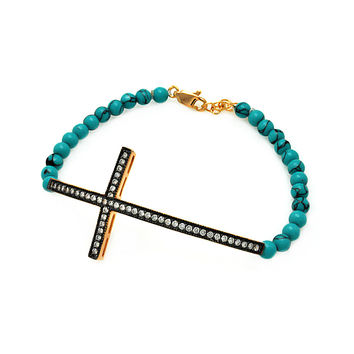 .925 Sterling Silver Gold &  Black Rhodium Plated Sideways Cross Cubic Zirconia Turquoise Beads Bracelet