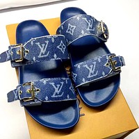 LV 2019 new men and women classic old flower metal buckle flat slippers blue
