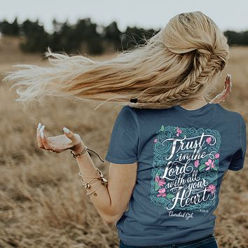 Cherished Girl Trust in the Lord with all Your Heart Girlie Christian Bright T Shirt