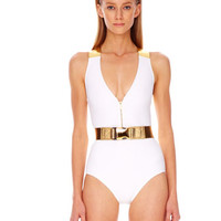 Michael Kors Belted Metallic-Strap Maillot