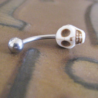 Belly Button Jewelry- White Turquoise Magnesite Skull Navel Piercing Ring Stud Bar Barbell