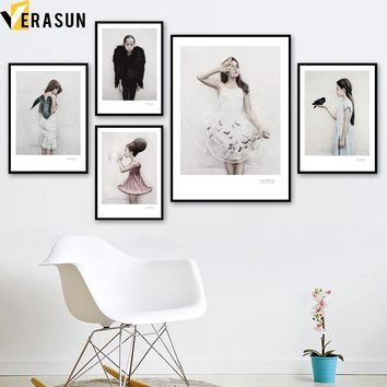 Fashion Little Girl Nordic Posters And Prints Wall Art Canvas Painting Pop Art Wall Pictures For Living Room Girl Room Home Deco