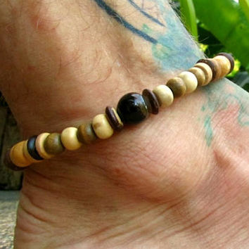 Men's Beaded Gemstone Anklet with Indian Agate, Coconut & Wooden Beads / Stretchy Ethnic Boho Hippie Ankle Bracelet / Men's Fashion Jewelry