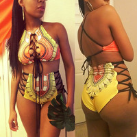 Plus Size Vintage Retro Women 2pcs Bandage Bikini Swimwear Swimsuit Print Push Up Monokini Bathing Suit High Waist Beachwear XXL
