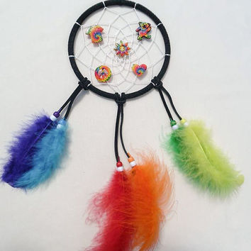 Boho-Hippie Tye dye Charmed dreamcatcher-black suede