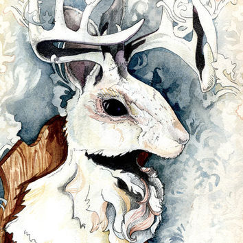 Winter Jackalope by ChloeYingst on Etsy