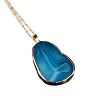 1PC Round Natural Agate Stone Necklace Men Jewelry Trendy Necklaces,BU