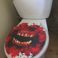 Killer horror Halloween monster blood mouth zombie toilet seat cover bathroom