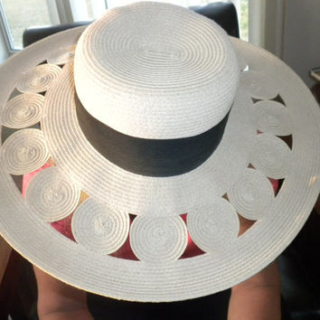 Large Vintage Ladies Hat, Ladies Floppy Hat