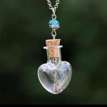 Valentine's Heart Terrarium Dandelion Wish Glass Bottle Necklace