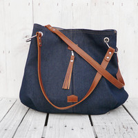 jeans canvas hobo tote bag boho bag Leather strap blue shoulderbag Bohemian bag
