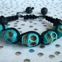 Turquoise Skull And Black Lava Bead Bracelet by ThePhloxShop