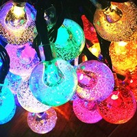 Solar String Lights,60 LED Outdoor String Light 4 Color Crystal Ball Decorative