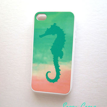 Rubber Mint and Pink iPhone 4 / 4S Case  iPhone Cell Phone Cases Mint Seahorse iPhone Case Sale