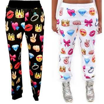 Men Women 3D Diamond Heart Pill Face Emoji Autumn Winter Jogger Pants Sweatpants