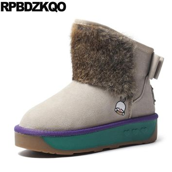 Slip On Flat Australian Winter Snow Boots Women Ankle Beige Fur Casual Shoes Booties Muffin Bow Faux New 2017 Female Fashion