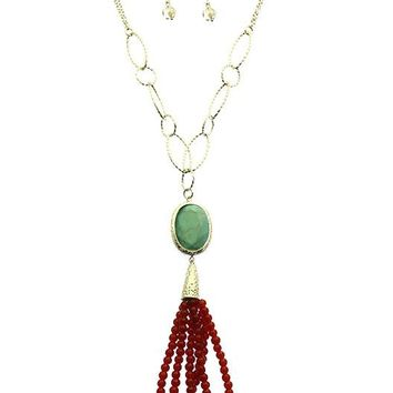 Turquoise and Coral Handcrafted Tassel Necklace And Earring Set