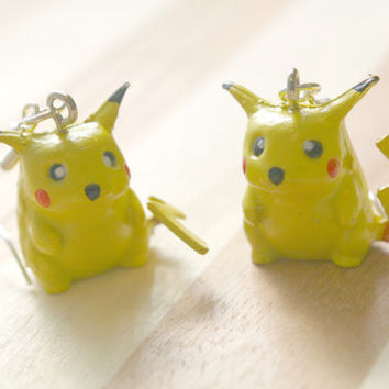 POKEMON PIKACHU EARRINGS yellow pokeball ash by DeathwishDesign