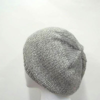 Hand knit beanie hat gray white wool tweed   4923