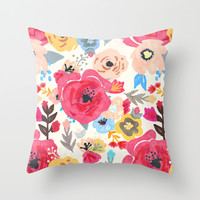 Summer Flora Throw Pillow by Tangerine-Tane   Society6