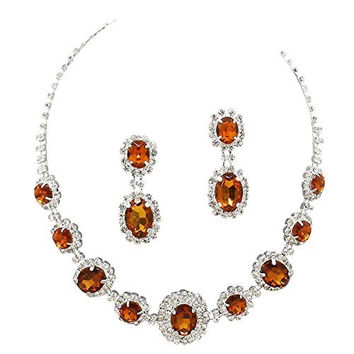 Amber Brown Regal Rhinestone Crystal Statement Bridal Bridesmaid Necklace Earring Set Silver Tone F3