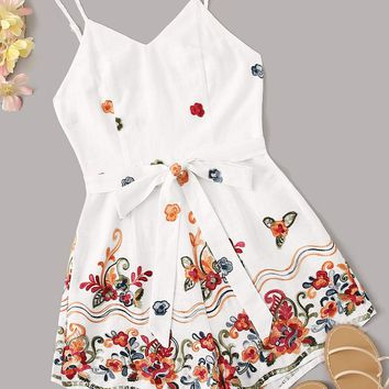 Embroidered Applique Detail Self Belted Cami Playsuit