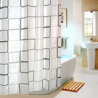 Bathroom Shower Curtain Liner for Home Traval Hotel with Hooks with Green and Gray Grid (Size: 180cm by 180cm, Color: Multicolor)