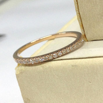 Diamond Wedding Ring 14K Rose Gold,Pave Set Round Cut Diamond,Half Eternity Matching Band,Anniversary Fine Ring,Stackable,Thin Design