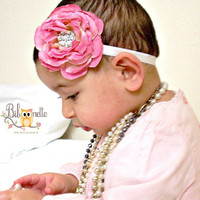 Flower Baby Headband.. Pink ranunculus  Infant Headband...Boutique Headband for Girls and Babies...Photo Prop.