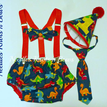 Boys Dinosaur Cake Smash Set, Boys First Birthday Dinosaur Cake Smash Outfit, Boys Second Birthday