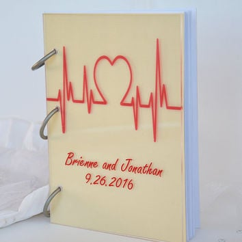 Wedding Guest Book Modern design Transparent organic glass, Personalized with names LOVE Cardiogram