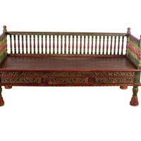 Teak Wood Hand Carved Painted Bench with Drawers