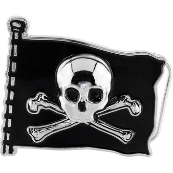 Black Skull and Crossbones FLAG Belt Buckle