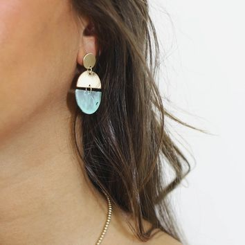 Dear To Me Contemporary Turquoise Geometric Earrings