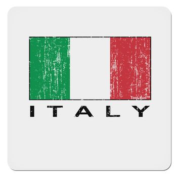 "Italian Flag - Italy Text Distressed 4x4"" Square Sticker by TooLoud"