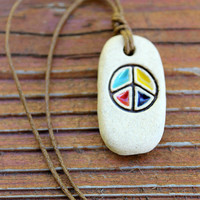 Colorful Ceramic Peace Sign focal adjustable cord necklace