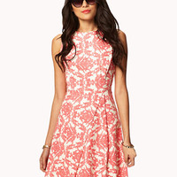 Baroque Print A-line Dress