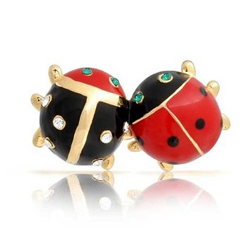 Ladybug Red Black Gold Plated Green Eye Crystal Insect Lapel Push Pin