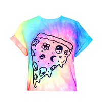 Pastel Pizza Crop Top- Pastel Tie Dye - Chill Crop Top - Pastel Goth - 90's - Grunge