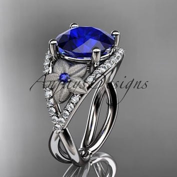 Platinum diamond floral engagement ring ADLR167 3.85ct blue Sapphire