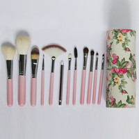 Pink 12pcs Wool Makeup Brush Set With Florals Bucket Cylinder -SheIn(Sheinside)