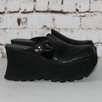 90s Mega Platform Shoes Vegan Leather Mules Slip on Slides Clogs Grunge Nu Goth Cyber Gothic Hipster Club Kid Punk Wedge 6.5 6 4 37 Chunky