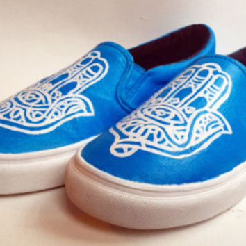 Hand Painted Canvas Shoes - Hamsa Good Vibes