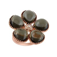 Smoky Quartz & Diamond Accent Pink Rhodium-Plated Sterling Silver Flower Ring (Brown)