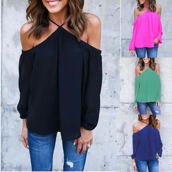 S-4XL Women Sexy Off Shoulder Blouse Halter Long Sleeve Chiffon Top Plus Size Ladies Solid Causal Loose Chiffon Shirts Blusas
