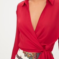 Red Wrap Front Tie Side Blouse